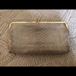 HOBO Double Frame Soft Leather Snake Print Clutch